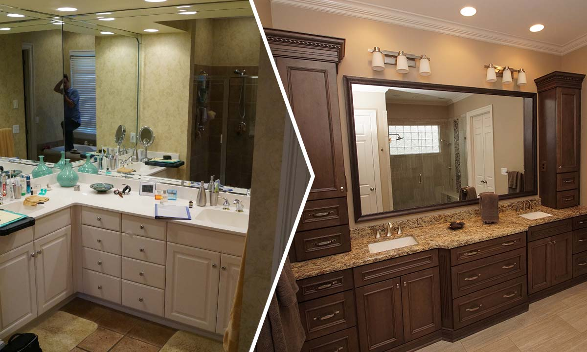 Before and after photos of the master bathroom. Master Bathroom Remodel   Creating a Spa Like Atmosphere