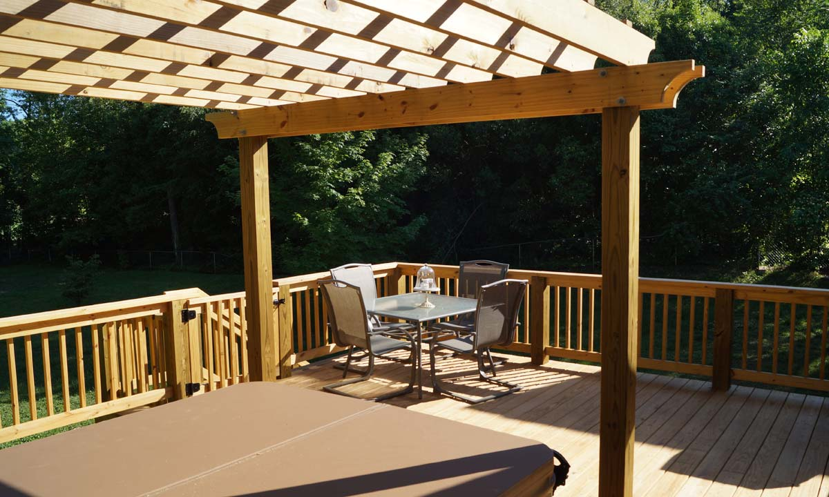 Screened porch conversion with sunken hot tub sunroom ideas for Screened sunroom